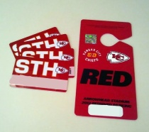 Our new plastic tickets and parking pass