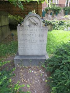 Poe's original resting place with the newer marker. Photo taken by me.