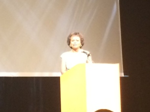 Anita Hill answering questions.