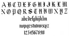 Gothic Letters  (Image found on Google images)
